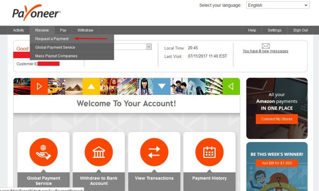 Request first payment at Payoneer