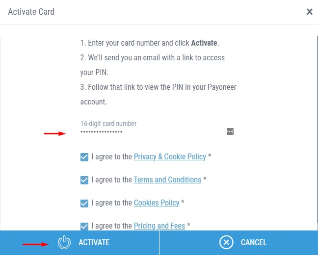 Activate a Newly issued card