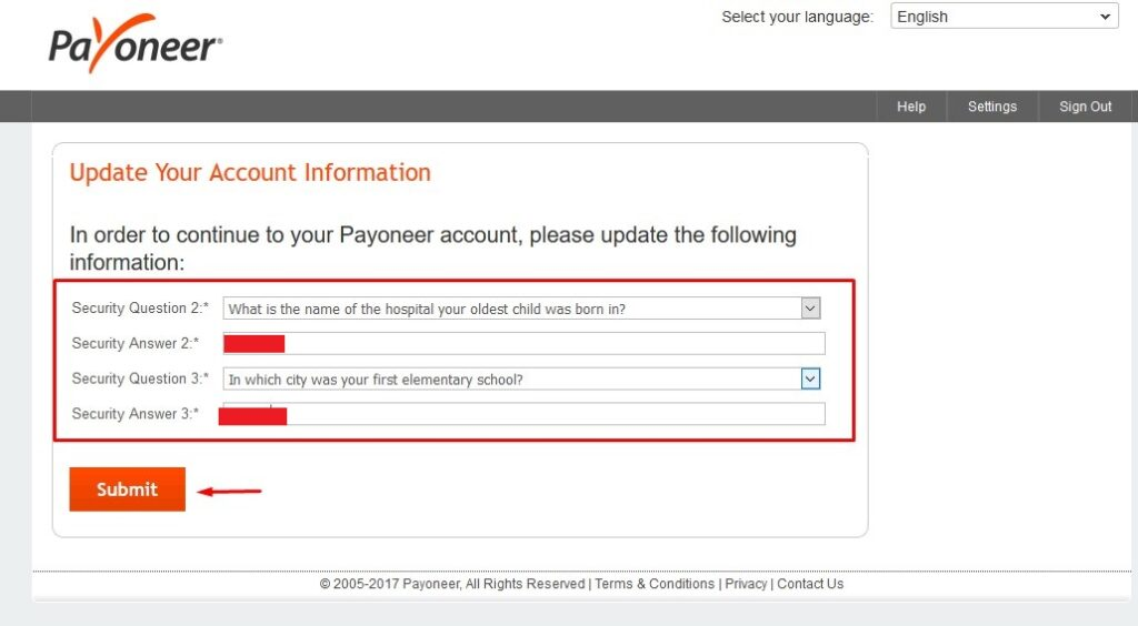 Payoneer security questions