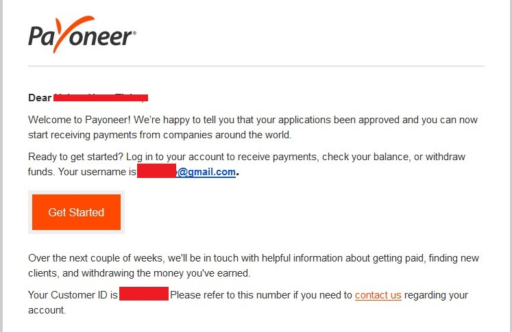 Payoneer account is approved